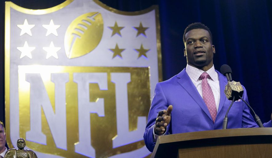 New Orleans Saints' Benjamin Watson speaks to the media after being named a finalist for the Walter Payton NFL Man of the Year Award at a news conference Friday, Feb. 5, 2016, in San Francisco. (AP Photo/Charlie Riedel)
