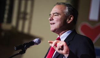Democratic vice presidential candidate Sen. Tim Kaine, D-Va., speaks as he visits a rally for Hillary Clinton's campaign at the Wealthy Theatre in Grand Rapids, Mich., Friday, Aug. 5, 2016. (Allison Farrand/The Grand Rapids Press-MLive.com via AP)