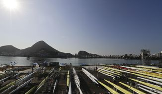 An overview of Lagoa, as rowing team practice ahead of the 2016 Summer Olympics in Rio de Janeiro, Brazil, Friday, Aug. 5, 2016. Friday, Aug. 5, 2016. (AP Photo/Luca Bruno)