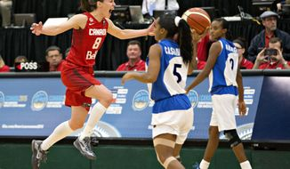 FILE - In this Aug. 16, 2015, file photo, Canada's Kim Gaucher, left, celebrates the team's win over Cuba during second half action of the 2015 FIBA Americas Women's Championship Final in Edmonton, Alberta. Gaucher has seen the growth of women's basketball in Canada over her 16 years with the program. She started with the junior national team as a 16-year old and there wasn't much interest in the sport in Canada. (Jason Franson/The Canadian Press via AP, File)