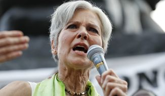 """It is such an honor to be also running in alliance with the Bernie Sanders movement,"" Jill Stein said to thunderous applause at the Green Party Presidential Nominating Convention in Houston. ""We are Bernie Green!"" (Associated Press)"