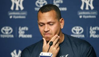 New York Yankees designated hitter Alex Rodriguez pauses during a news conference, Sunday, Aug. 7, 2016, in New York, after announcing that Friday, Aug. 12, will be his last game as a player. Rodriguez will continue on in a role as a special advisor to the team and an instructor through Dec. 31, 2017. (AP Photo/Kathy Willens)