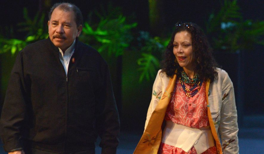 Nicaraguan President Daniel Ortega and his wife, Rosario Murillo, are accused by critics of running the Central American country as if it were their own and doing everything they can to cement family power. (Associated Press)
