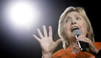 Democratic presidential candidate Hillary Clinton speaks at a rally at Osceola Heritage Park, in Kissimmee, Fla., Monday, Aug. 8, 2016. (AP Photo/Andrew Harnik)