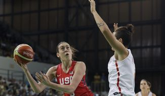 United States forward Breanna Stewart shoots during the first half of a women's basketball game against Spain at the Youth Center at the 2016 Summer Olympics in Rio de Janeiro, Brazil, Monday, Aug. 8, 2016. (AP Photo/Carlos Osorio)