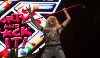 In this July 23, 2016, file photo, Dee Snider of Twisted Sister performs during the Hell and Heaven music festival in Mexico City. Snider's granddaughter was born on a California freeway on Sunday, Aug. 7, 2016. (AP Photo/Christian Palma, File)