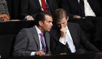 Donald Trump Jr., left, and his brother Eric talk while their father Republican Presidential Candidate Donald Trump speaks at the Republican National Convention, Thursday, July 21, 2016 in Cleveland. (AP Photo/Paul Sancya)