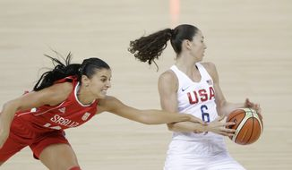 Serbia guard Ana Dabovic reaches in and fouls United States guard Sue Bird (6) during the first half of a women's basketball game at the Youth Center at the 2016 Summer Olympics in Rio de Janeiro, Brazil, Wednesday, Aug. 10, 2016. (AP Photo/Carlos Osorio)