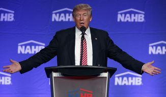 Republican presidential candidate Donald Trump speaks to the National Association of Home Builders, Thursday, Aug. 11, 2016, in Miami Beach, Fla. (AP Photo/Evan Vucci)