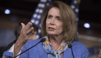 House Minority Leader Nancy Pelosi, D-Calif., calls on Republicans who hold the majority in Congress to return to Washington from recess to deal with urgent and unresolved issues like the Zika virus, during a news conference on Capitol Hill in Washington, Thursday, Aug. 11, 2016. (AP Photo/J. Scott Applewhite)
