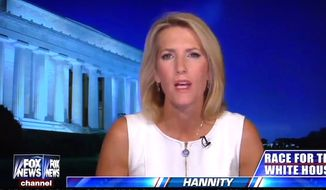 "Radio host Laura Ingraham told Fox News' Sean Hannity on Aug. 10 that it would be ""immoral"" for the #NeverTrump Republicans not to cast their presidential vote for Donald Trump. (Fox News screenshot) ** FILE **"