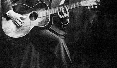 """Robert Johnson (May 8, 1911  August 16, 1938) was an American blues singer-songwriter and musician. His landmark recordings in 1936 and 1937 display a combination of singing, guitar skills, and songwriting talent that has influenced later generations of musicians. Johnson's shadowy and poorly documented life and death at age 27 have given rise to much legend, including the Faustian myththat he sold his soul to the devil at a crossroads to achieve success. As an itinerant performer who played mostly on street corners, in juke joints, and at Saturday night dances, Johnson had little commercial success or public recognition in his lifetime. It was only after the reissue of his recordings in 1961, on the LP King of the Delta Blues Singers, that his work reached a wider audience. Johnson is now recognized as a master of the blues, particularly of the Mississippi Delta blues style. He is credited by many rock musicians as an important influence; Eric Clapton has called Johnson """"the most important blues singer that ever lived."""" Johnson was inducted into the Rock and Roll Hall of Fame as an early influence in its first induction ceremony, in 1986. In 2010, David Fricke ranked Johnson fifth in Rolling Stone magazine's """"100 Greatest Guitarists of All Time""""."""
