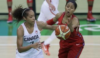 Canada forward Nayo Raincock-Ekunwe (7) and United States forward Maya Moore reach for a rebound during the second half of a women's basketball game at the Youth Center at the 2016 Summer Olympics in Rio de Janeiro, Brazil, Friday, Aug. 12, 2016. The United States defeated Canada 81-51. (AP Photo/Carlos Osorio)