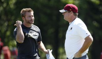 Washington Redskins offensive coordinator Sean McVay, left, talks with head coach Jay Gruden during practice at the team's NFL football training facility at Redskins Park, Wednesday, June 8, 2016 in Ashburn, Va. (AP Photo/Alex Brandon) **FILE**