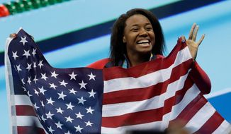 The United States' Simone Manuel set a U.S. record and tied an Olympic record when she won the gold medal in the women's 100-meter freestyle last week in Rio de Janeiro. In doing so, Manuel became the first black woman to win an individual gold medal in Olympic swimming. (Associated PRess Photographs)