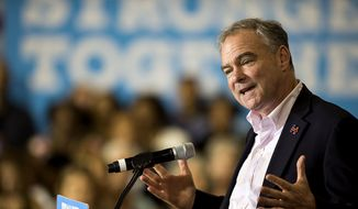 Democratic vice presidential candidate Tim Kaine speaks to supporters Monday, Aug. 15, 2016, in Asheville, N.C. (Maddy Jones/The Asheville Citizen-Times via AP)