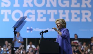 Democratic presidential candidate Hillary Clinton, addresses a gathering at a campaign rally Monday, Aug. 15, 2016, in Scranton, Pa. (AP Photo/Mel Evans)