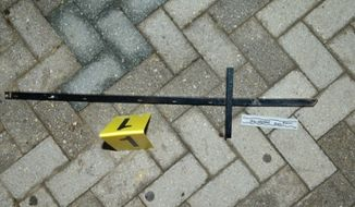 """Fairfax County police tweeted: """"Sharing an image of the actual weapon held by the suspect who threatened the deputy at Inova Fairfax Hospital."""" (Twitter)"""
