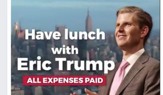 """Screen grab from Trump campaign video promoting """"lunch with Eric Trump"""" contest. Accessed August 16, 2016."""