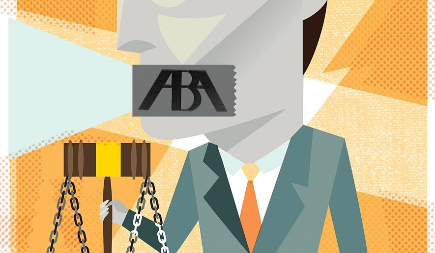 Illustration on proposed rule changes from the ABA by Linas Garsys/The Washington Times