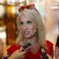 Kellyanne Conway, new campaign manager for Republican presidential candidate Donald Trump, speaks to reporters in the lobby of Trump Tower in New York, Wednesday, Aug. 17, 2016. (AP Photo/Gerald Herbert) ** FILE **