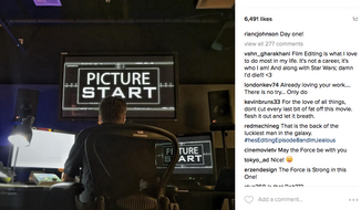 """Screen grab from Rian Johnson's Instagram page. The director is working on editing the footage for """"Star Wars: Episode VIII,"""" which is set for release in theaters on December 15, 2017. Photo accessed August 17, 2016."""