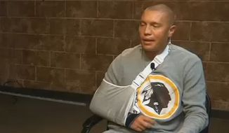 Barrett Dahl, an autistic Native American, claims a White House official attacked him last October over his Redskins shirt. Mr. Dahl was visiting Washington, D.C., for a school trip. (9 News Oklahoma screenshot)
