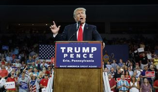 This Friday, Aug. 12, 2016, file photo, Republican presidential candidate Donald Trump speaks during a campaign rally, in Erie, Pa. Trump has shattered the normal Republican consensus in Utah even more so than he has nationwide, activating fault lines under a normally stable electorate largely unified by a single religion. (AP Photo/Evan Vucci, File)