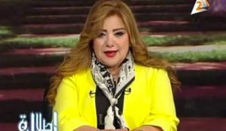 Egyptian TV host Khadija Khatab was pulled from broadcasts due to concerns about her weight. (Egyptian state television, Second Channel)