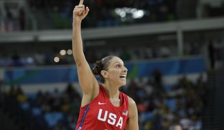 United States' Diana Taurasi celebrates a score against France during a women's semifinal round basketball game at the 2016 Summer Olympics in Rio de Janeiro, Brazil, Thursday, Aug. 18, 2016. (AP Photo/Eric Gay)