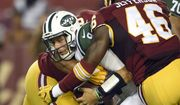 New York Jets quarterback Bryce Petty (9) is brought down by Washington Redskins defensive end Stephen Paea, back, and linebacker Willie Jefferson during the second half of an NFL preseason football game Friday, Aug. 19, 2016, in Landover, Md. (AP Photo/Nick Wass)