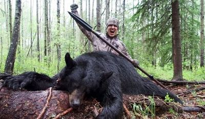 Under Armour has ended its sponsorship of the wife of U.S. hunter Josh Bowmar, whose video showing him killing a bear with a spear in Alberta, Canada, sparked international backlash. (Josh Bowmar)