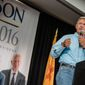 Libertarian presidential candidate and former New Mexico Gov. Gary Johnson speaks during a campaign rally Saturday Aug. 20, 2016, in Alburquerque, N.M. (Jim Thompson/The Albuquerque Journal via AP)