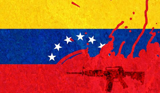 Illustration on Venezuela's descent in to chaos under socialism by Alexander Hunter/The Washington Times