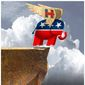 Illustration on Republican support for Hillary Clinton over Donald Trump by Alexander Hunter/The Washington Times