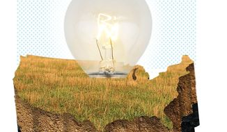 Illustration on the virtues of coal bed methane energy by Linas Garsys/The Washington Times