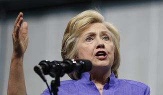 Democratic presidential candidate Hillary Clinton speaks in Scranton, Pa. (AP Photo/Carolyn Kaster, File)