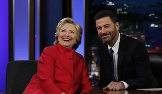 Democratic presidential candidate Hillary Clinton pauses to pose for a photograph as she talks with Jimmy Kimmel during a break in taping of Jimmy Kimmel Live! in Los Angeles, Monday, Aug. 22, 2016. (AP Photo/Carolyn Kaster)
