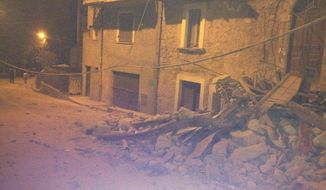 The town of Amatrice in Central Italy was, according to its mayor, destroyed by a series of earthquakes Wednesday morning. (Italian political analyst Massimo Micucci, @buzzico)