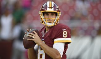 Washington Redskins quarterback Kirk Cousins (8) warms up before an NFL preseason football game against the New York Jets, Friday, Aug. 19, 2016, in Landover, Md. (AP Photo/Nick Wass)
