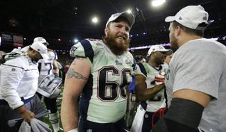 New England Patriots Bryan Stork (66) celebrates after the second half of NFL Super Bowl XLIX football game Sunday, Feb. 1, 2015, in Glendale, Ariz. (AP Photo/Ben Margot)