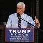 Republican vice presidential candidate, Indiana Gov. Mike Pence, talks to supporters and volunteers at Manufacturing Methods in Leland, N.C., Wednesday, Aug. 24, 2016. (Ken Blevins/The Star-News via AP)
