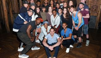 """Members of the """"Final Five"""" Rio Olympics gold medal-winning U.S. Gymnastics team visit backstage with the cast of """"Hamilton"""" after attending the performance at the Richard Rogers Theatre on Tuesday, Aug. 23, 2016, in New York. (Photo by Evan Agostini/Invision/AP)"""