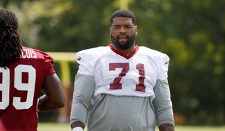 Washington Redskins tackle Trent Williams (71) stands during practice at the team's NFL football training facility at Redskins Park, Wednesday, Aug. 17, 2016 in Ashburn, Va. (AP Photo/Alex Brandon) **FILE**