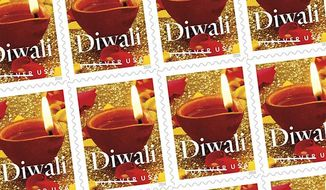 The new first-class Diwali postage stamp, which will be formally released by the United States Postal Service on October 5, 2016. Image via the Hindu American Foundation's website.
