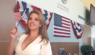 Former Miss Universe Alicia Machado celebrating her new American citizenship in this August 20, 2016 Instagram photo. The Venezuelan-born beauty queen said she will be voting for Hillary Clinton in the November general election. Republican nominee Donald Trump once infamously made sport of her weight gain after she won the Miss Universe pageant in 1996.