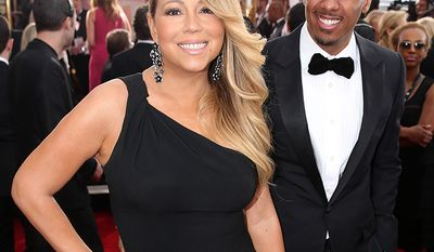 "Mariah Carey met actor and comedian Nick Cannon while they shot her music video for her song ""Bye Bye"" on an island off the coast of Antigua. He was 27, she was 38. On April 30, 2008, Carey married Cannon in The Bahamas. In August 2014, Cannon confirmed he and Carey had separated a few months earlier. He filed for divorce on December 12, 2014. (AP Photo)"