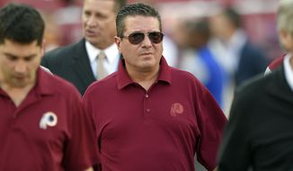 Washington Redskins owner Dan Snyder walks on the field before an NFL preseason football game against the Buffalo Bills, Friday, Aug. 26, 2016, in Landover, Md. (AP Photo/Nick Wass)