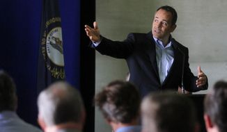 Kentucky Gov. Matt Bevin speaks during an unveiling of signage designating the Natcher Parkway as a future Interstate 65 spur connector during an announcement at the Owensboro Riverport Authority, Friday, Aug. 26, 2016, in Owensboro, Ky. (Greg Eans/The Messenger-Inquirer via AP)