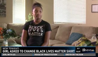 Mariah Havard, a 10th-grader at Buckeye Union High School in Buckeye, Arizona, says she and a friend were forced to change out of their Black Lives Matter shirts after another student complained to school officials. (KPNX)